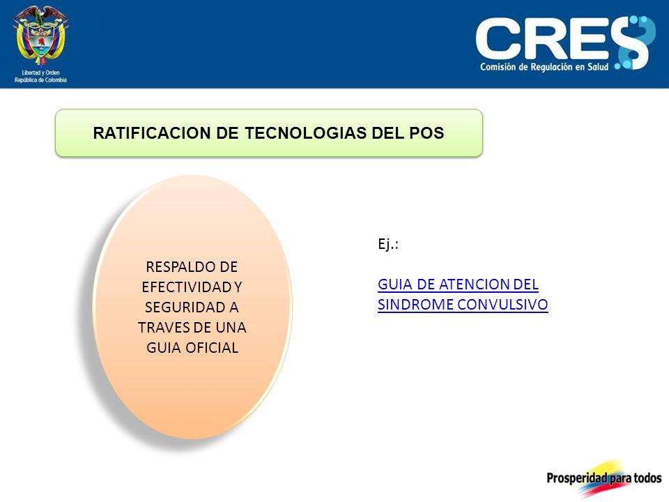 RATIFICACION DE TECNOLOGIAS DEL POS RESPALDO DE EFECTIVIDAD Y SEGURIDAD A TRAVES DE UNA GUIA OFICIAL Ej.: GUIA DE ATENCION DEL SINDROME CONVULSIVO