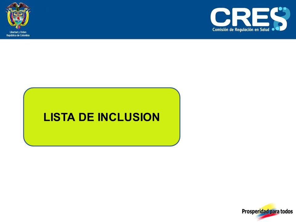 LISTA DE INCLUSION