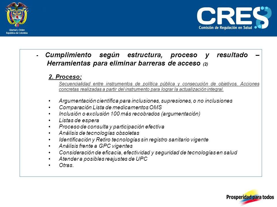 - Cumplimiento según estructura, proceso y resultado – Herramientas para eliminar barreras de acceso (2) 2.