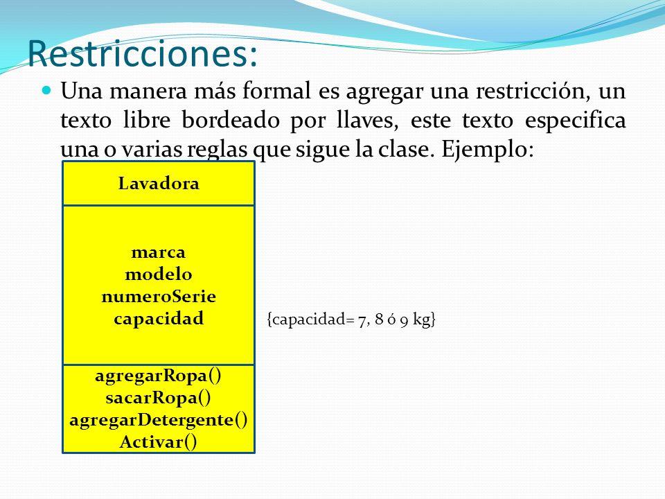 Restricciones: Una manera más formal es agregar una restricción, un texto libre bordeado por llaves, este texto especifica una o varias reglas que sigue la clase.