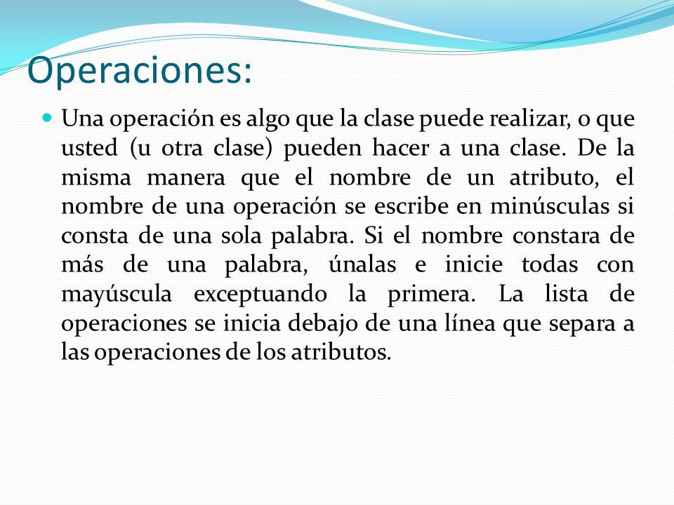 Operaciones: Una operación es algo que la clase puede realizar, o que usted (u otra clase) pueden hacer a una clase.
