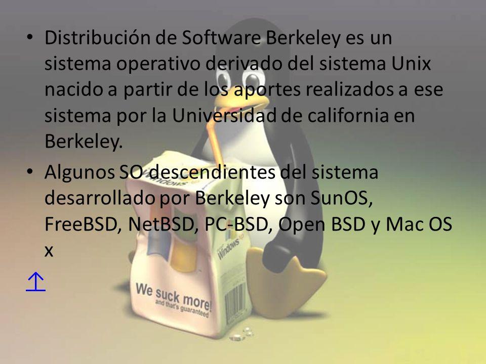Distribución de Software Berkeley es un sistema operativo derivado del sistema Unix nacido a partir de los aportes realizados a ese sistema por la Universidad de california en Berkeley.