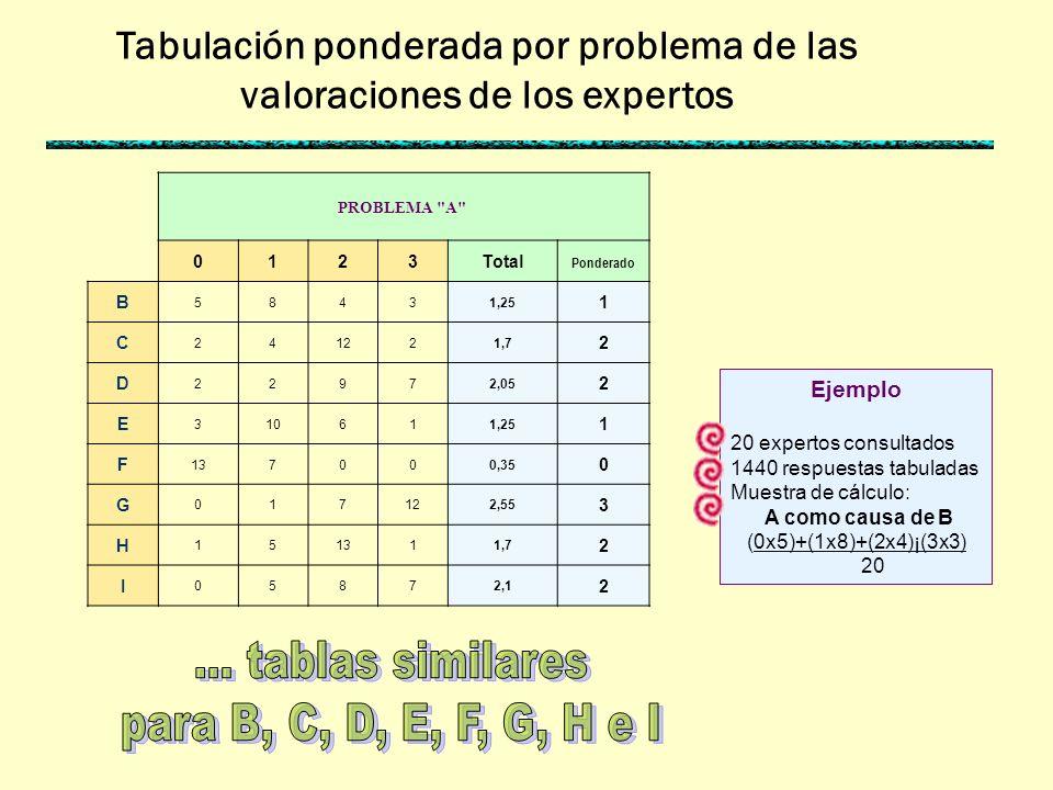 PROBLEMA A 0123 B C D E F G H I Formulario aplicado a expertos Aplicación Cada experto asigna valores 0, 1, 2 ó 3 al problema A como causa de los demás problemas Ejemplo Cada formulario tiene 9 tablas, una por cada problema