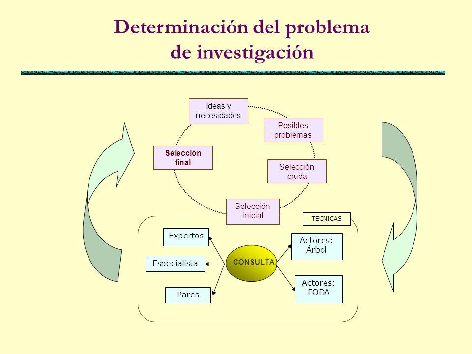 Teorías existentes Identificación Formulación Redacción Puede ser medido Da lugar a una solución Es posible aplicarla para cambiar una situación anterior REALIDAD LA REALIDAD Y EL PROBLEMA DE INVESTIGACIÓN Tema de investigación