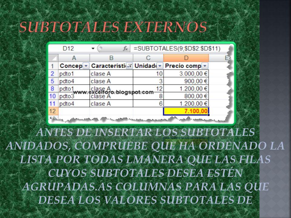 ANTES DE INSERTAR LOS SUBTOTALES ANIDADOS, COMPRUEBE QUE HA ORDENADO LA LISTA POR TODAS LMANERA QUE LAS FILAS CUYOS SUBTOTALES DESEA ESTÉN AGRUPADAS.AS COLUMNAS PARA LAS QUE DESEA LOS VALORES SUBTOTALES DE