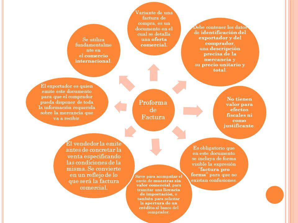 Proforma de Factura Variante de una factura de compra, es un documento en el cual se detalla una oferta comercial. Debe contener los datos de identifi
