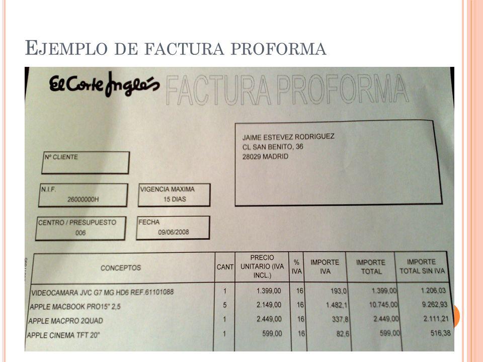 E JEMPLO DE FACTURA PROFORMA
