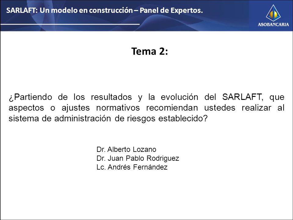 Tema 2: ¿Partiendo de los resultados y la evolución del SARLAFT, que aspectos o ajustes normativos recomiendan ustedes realizar al sistema de administración de riesgos establecido.
