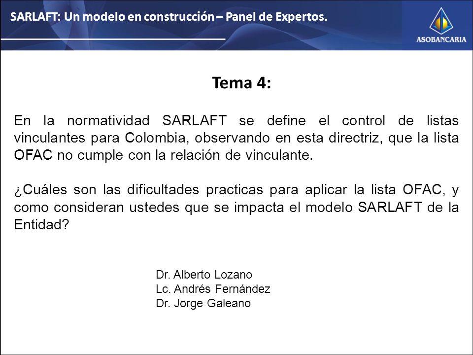Tema 4: En la normatividad SARLAFT se define el control de listas vinculantes para Colombia, observando en esta directriz, que la lista OFAC no cumple con la relación de vinculante.