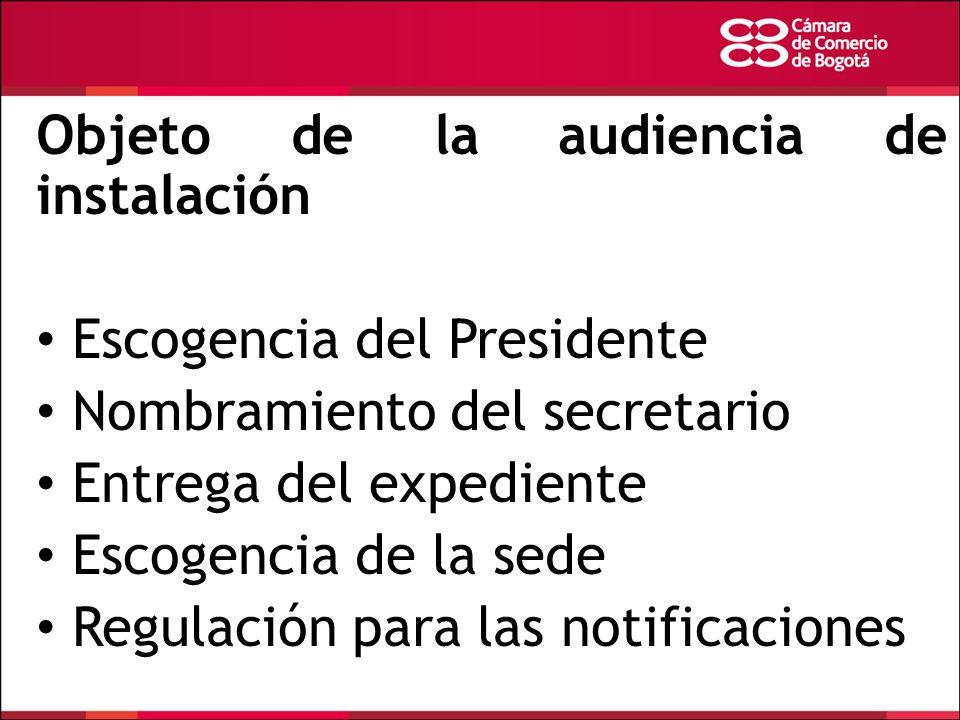 Objeto de la audiencia de instalación Escogencia del Presidente Nombramiento del secretario Entrega del expediente Escogencia de la sede Regulación pa