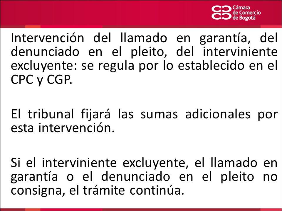Intervención del llamado en garantía, del denunciado en el pleito, del interviniente excluyente: se regula por lo establecido en el CPC y CGP. El trib