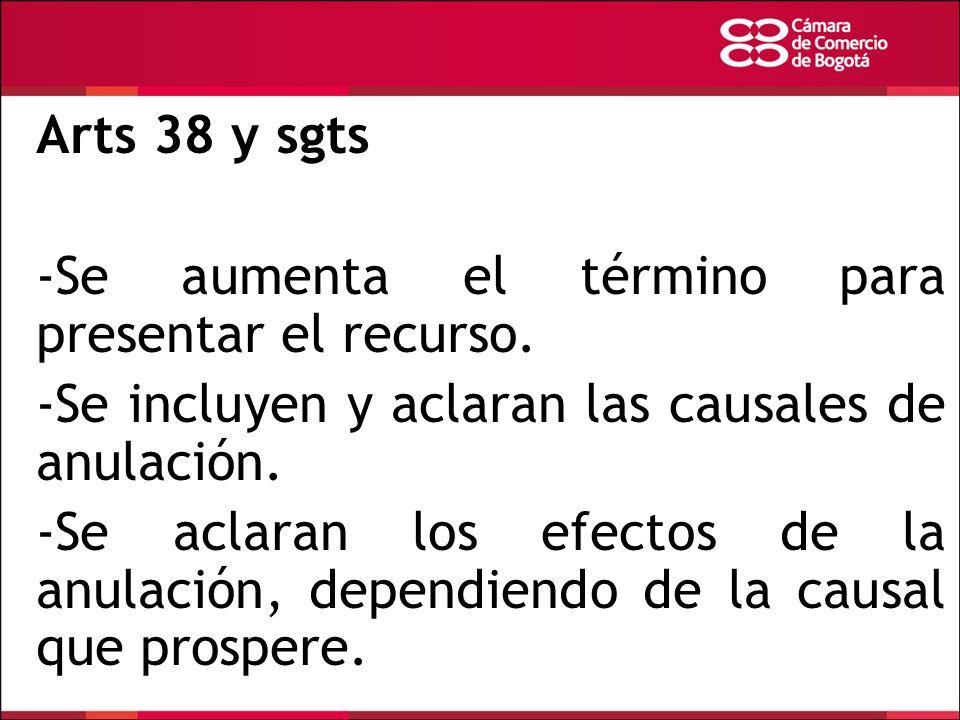Arts 38 y sgts -Se aumenta el término para presentar el recurso. -Se incluyen y aclaran las causales de anulación. -Se aclaran los efectos de la anula