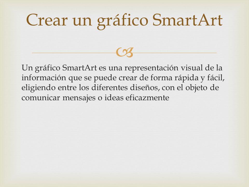 Un gráfico SmartArt es una representación visual de la información que se puede crear de forma rápida y fácil, eligiendo entre los diferentes diseños,