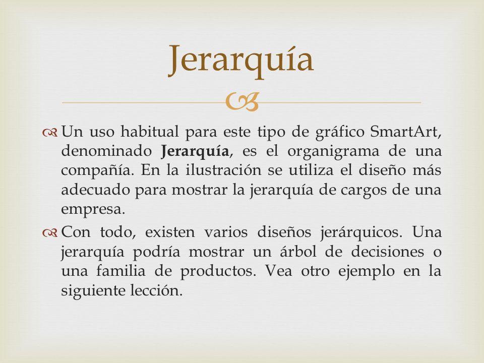 Un uso habitual para este tipo de gráfico SmartArt, denominado Jerarquía, es el organigrama de una compañía. En la ilustración se utiliza el diseño má