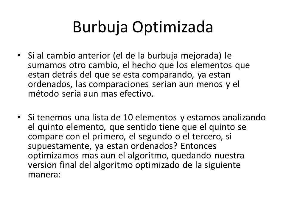 Burbuja Optimizada Si al cambio anterior (el de la burbuja mejorada) le sumamos otro cambio, el hecho que los elementos que estan detrás del que se es