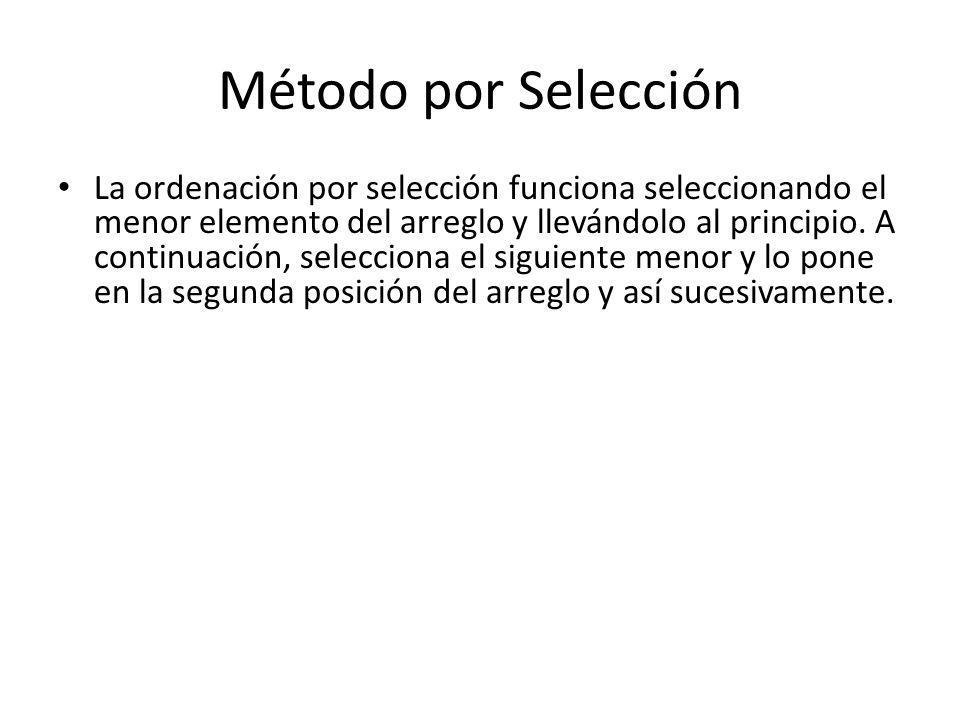 Método por Selección La ordenación por selección funciona seleccionando el menor elemento del arreglo y llevándolo al principio. A continuación, selec