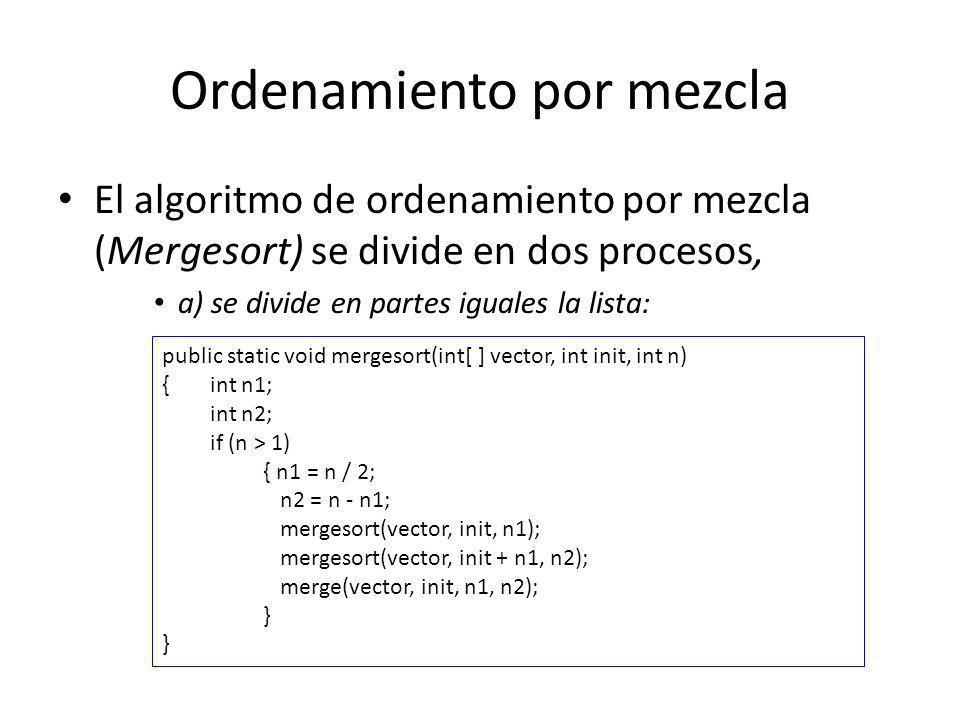 Ordenamiento por mezcla El algoritmo de ordenamiento por mezcla (Mergesort) se divide en dos procesos, a) se divide en partes iguales la lista: public