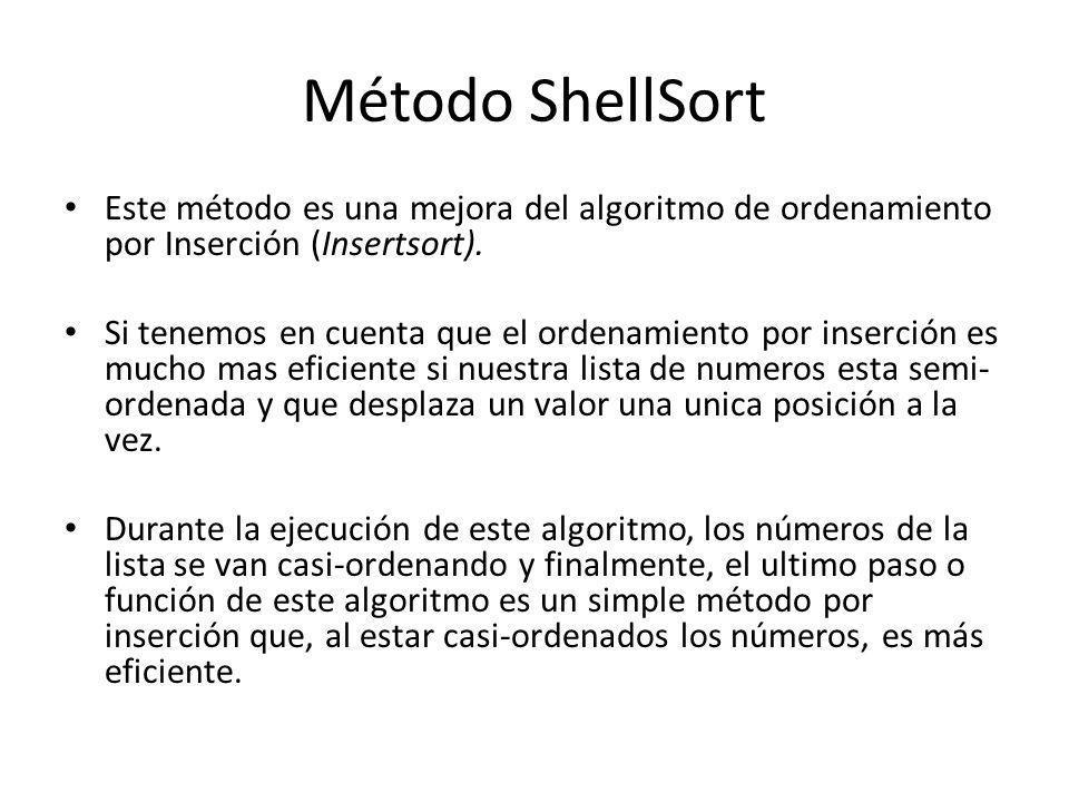 Método ShellSort Este método es una mejora del algoritmo de ordenamiento por Inserción (Insertsort). Si tenemos en cuenta que el ordenamiento por inse