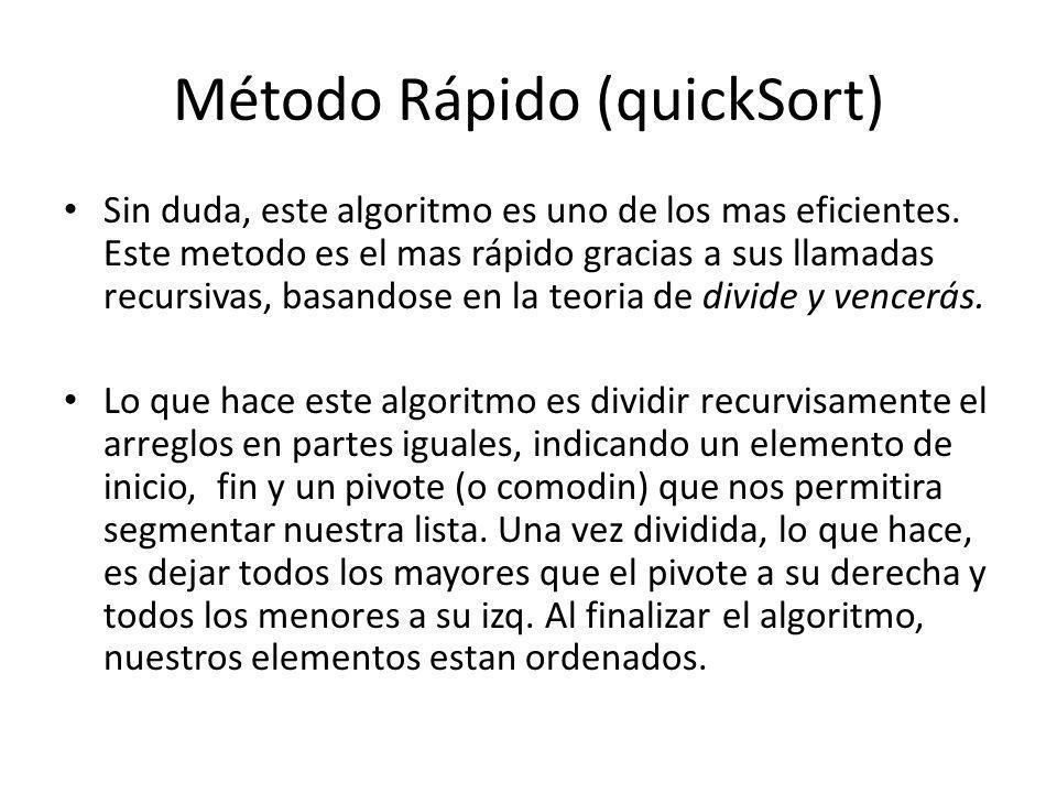 Método Rápido (quickSort) Sin duda, este algoritmo es uno de los mas eficientes. Este metodo es el mas rápido gracias a sus llamadas recursivas, basan