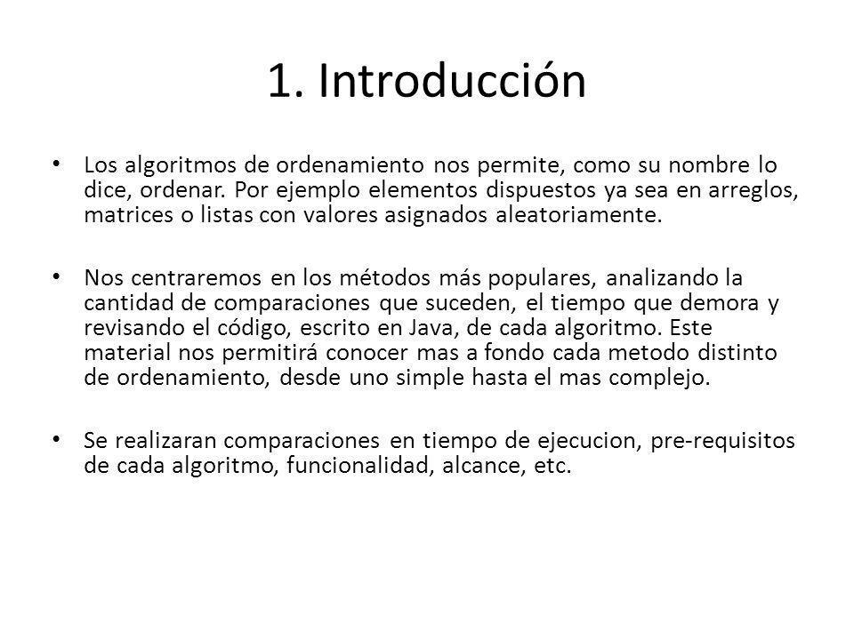 1. Introducción Los algoritmos de ordenamiento nos permite, como su nombre lo dice, ordenar. Por ejemplo elementos dispuestos ya sea en arreglos, matr