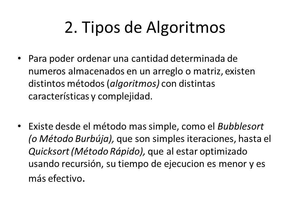 2. Tipos de Algoritmos Para poder ordenar una cantidad determinada de numeros almacenados en un arreglo o matriz, existen distintos métodos (algoritmo