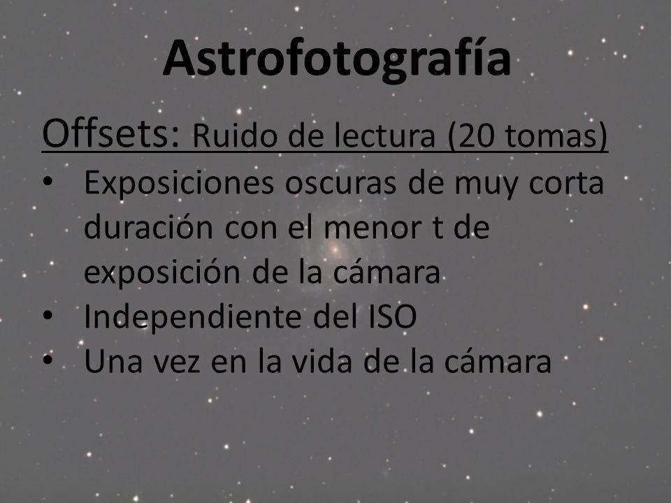 Astrofotografía Offsets: Ruido de lectura (20 tomas) Exposiciones oscuras de muy corta duración con el menor t de exposición de la cámara Independient