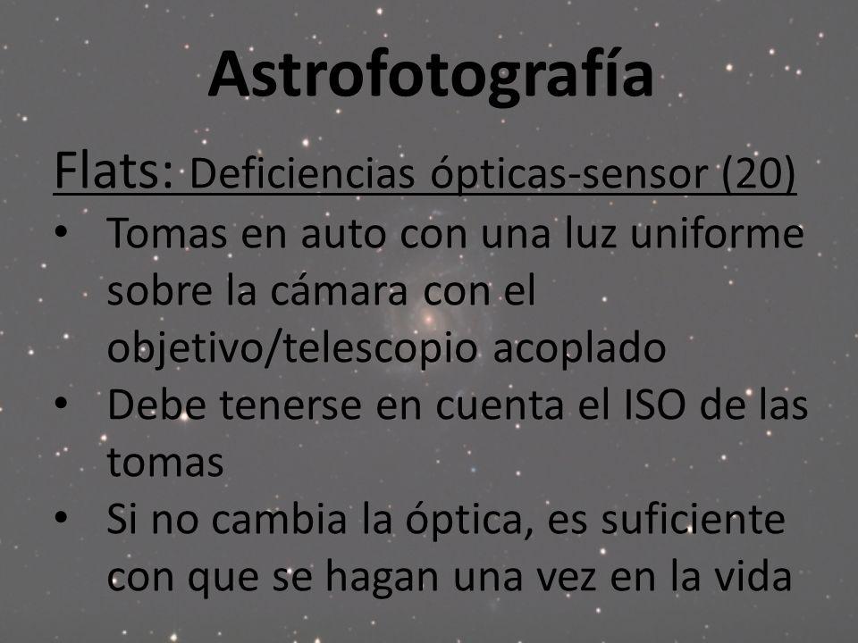 Astrofotografía Flats: Deficiencias ópticas-sensor (20) Tomas en auto con una luz uniforme sobre la cámara con el objetivo/telescopio acoplado Debe te