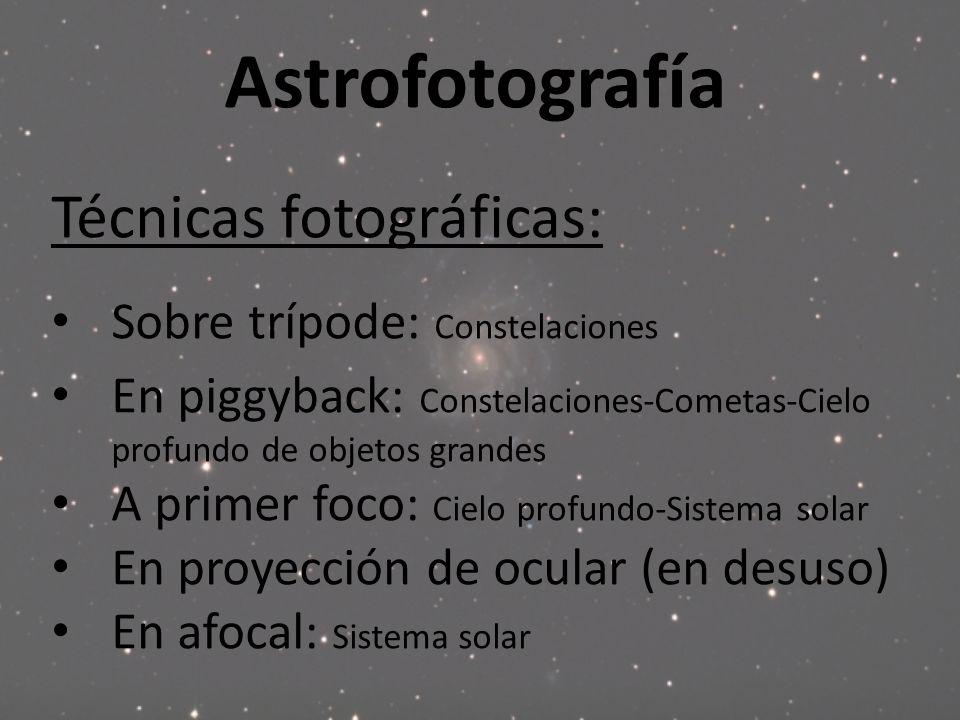 Astrofotografía Técnicas fotográficas: Sobre trípode: Constelaciones En piggyback: Constelaciones-Cometas-Cielo profundo de objetos grandes A primer f