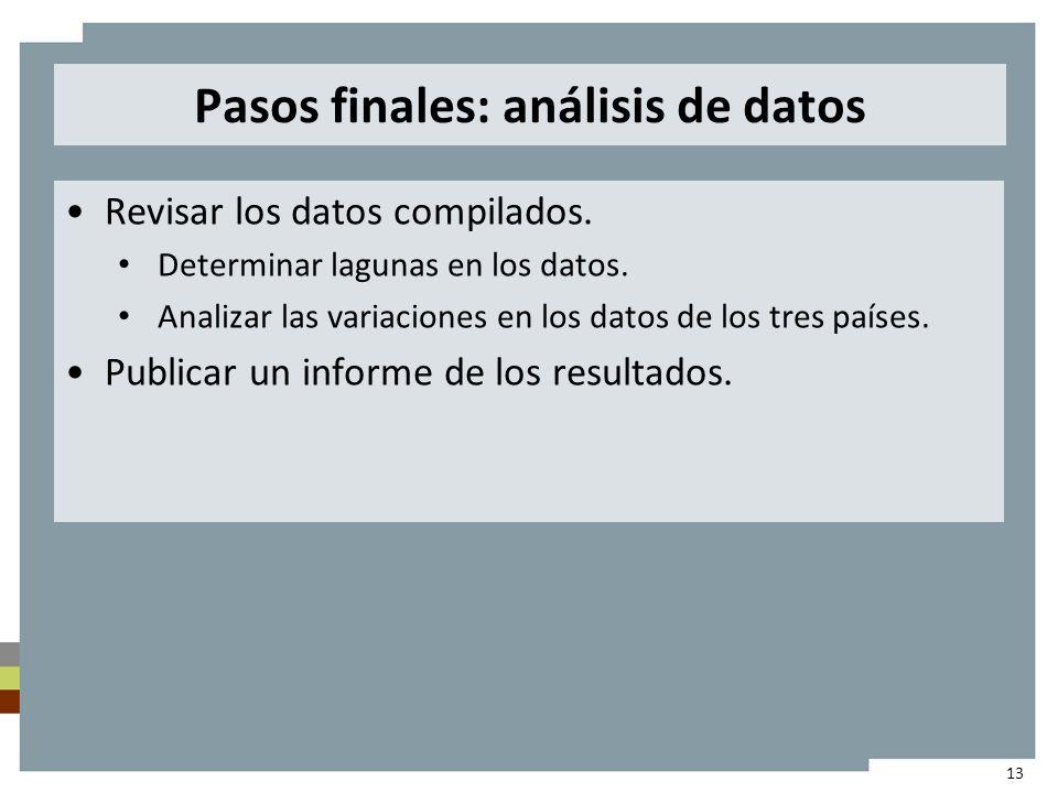 Pasos finales: análisis de datos Revisar los datos compilados.