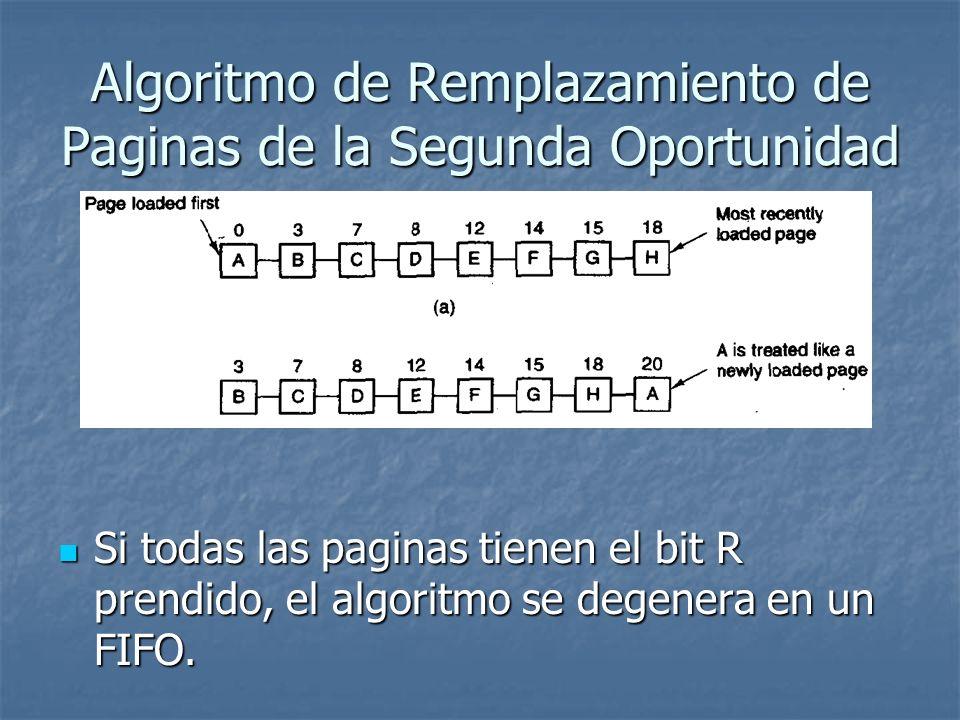 Algoritmo de Remplazamiento de Paginas de la Segunda Oportunidad Si todas las paginas tienen el bit R prendido, el algoritmo se degenera en un FIFO. S