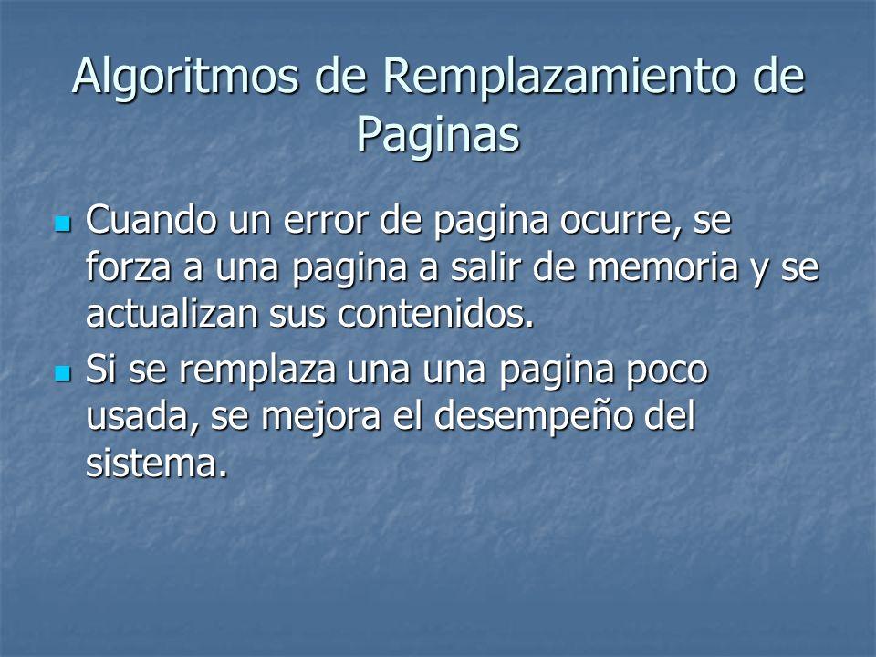 Algoritmos de Remplazamiento de Paginas Cuando un error de pagina ocurre, se forza a una pagina a salir de memoria y se actualizan sus contenidos. Cua