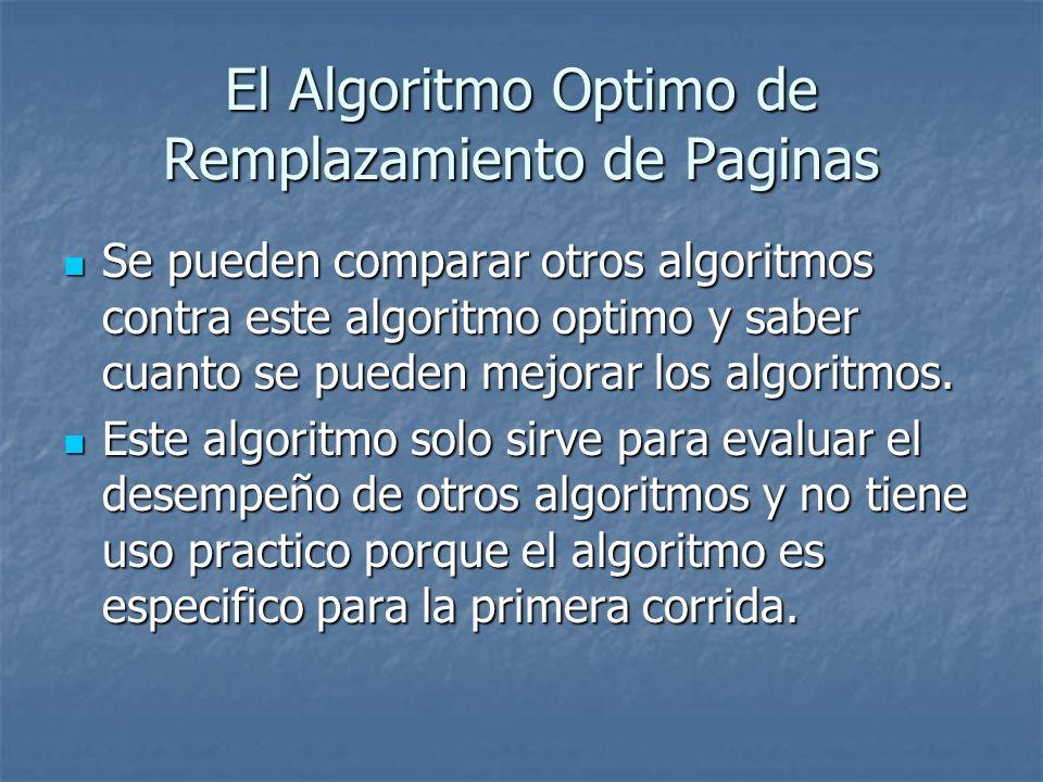 El Algoritmo Optimo de Remplazamiento de Paginas Se pueden comparar otros algoritmos contra este algoritmo optimo y saber cuanto se pueden mejorar los