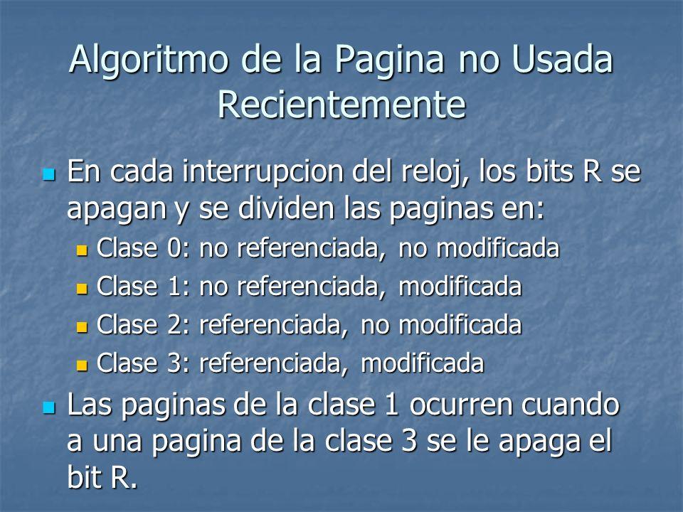 Algoritmo de la Pagina no Usada Recientemente En cada interrupcion del reloj, los bits R se apagan y se dividen las paginas en: En cada interrupcion d