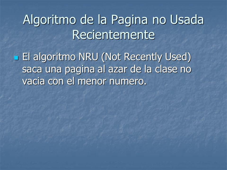Algoritmo de la Pagina no Usada Recientemente El algoritmo NRU (Not Recently Used) saca una pagina al azar de la clase no vacia con el menor numero. E