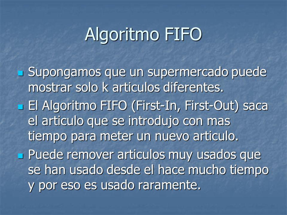 Algoritmo FIFO Supongamos que un supermercado puede mostrar solo k articulos diferentes. Supongamos que un supermercado puede mostrar solo k articulos