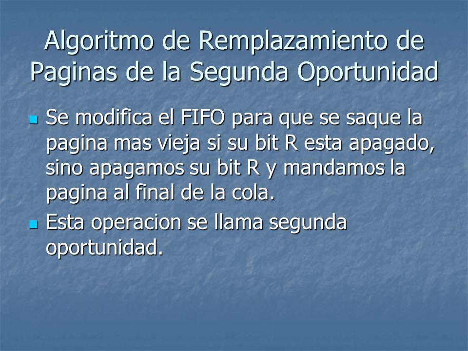 Algoritmo de Remplazamiento de Paginas de la Segunda Oportunidad Se modifica el FIFO para que se saque la pagina mas vieja si su bit R esta apagado, s