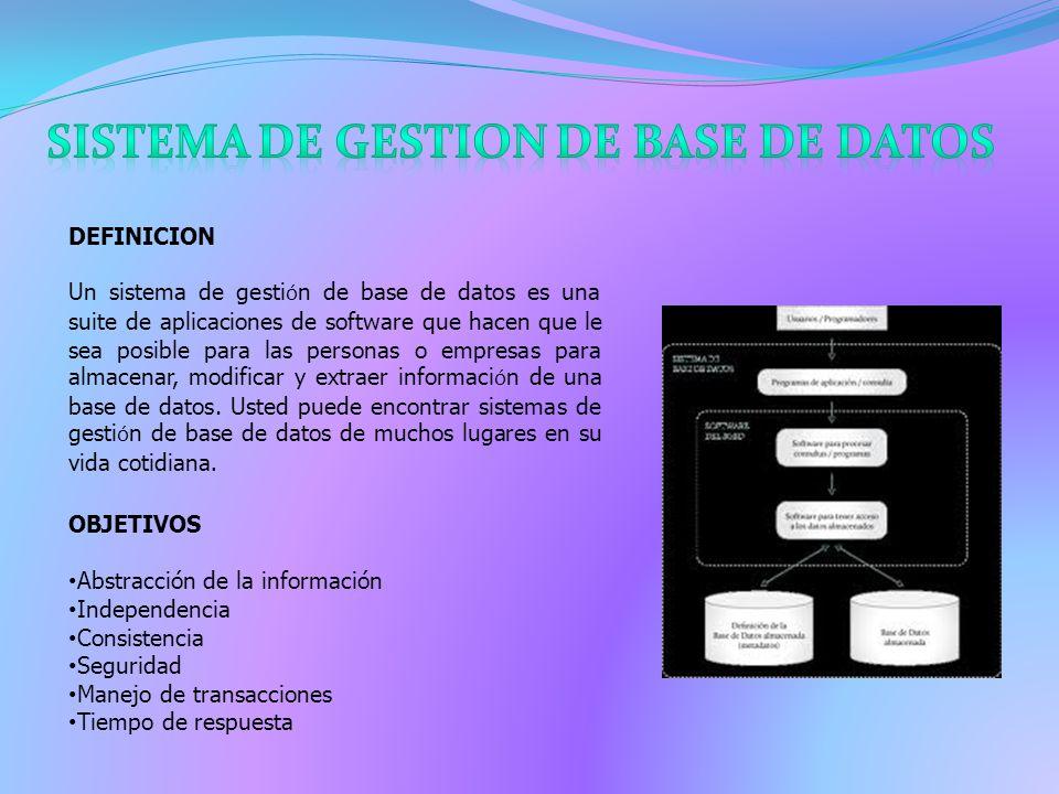 DEFINICION Un sistema de gesti ó n de base de datos es una suite de aplicaciones de software que hacen que le sea posible para las personas o empresas para almacenar, modificar y extraer informaci ó n de una base de datos.