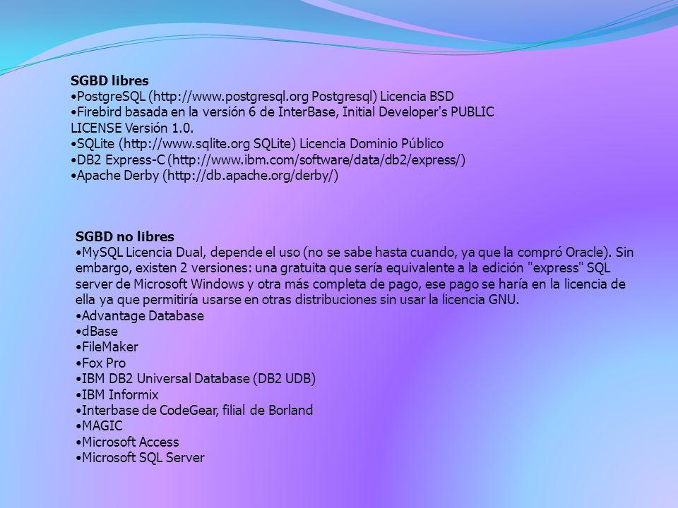 SGBD no libres MySQL Licencia Dual, depende el uso (no se sabe hasta cuando, ya que la compró Oracle).