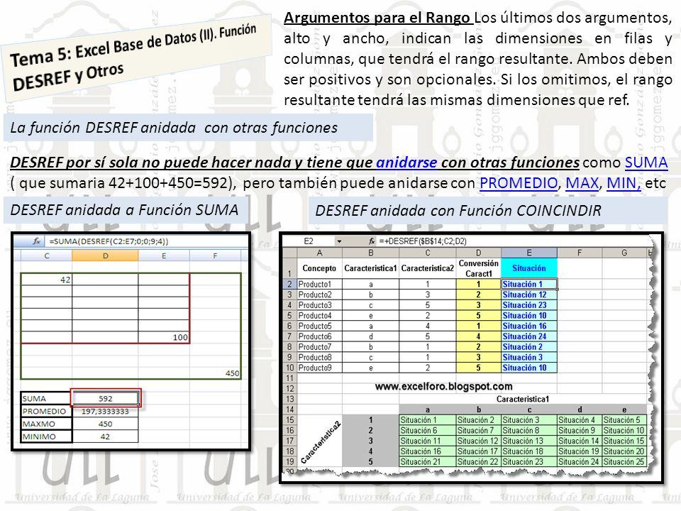 La función DESREF anidada con otras funciones Argumentos para el Rango Los últimos dos argumentos, alto y ancho, indican las dimensiones en filas y co