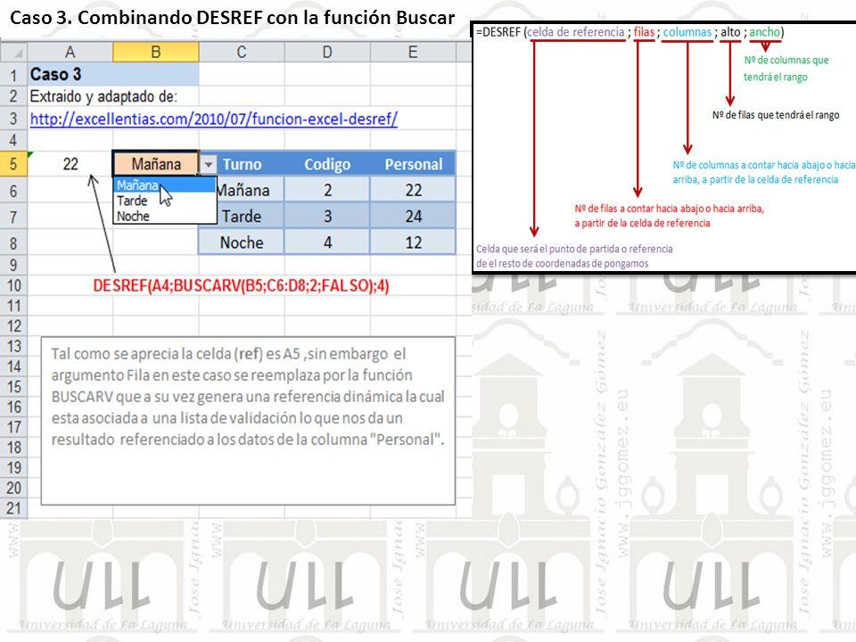 Caso 3. Combinando DESREF con la función Buscar