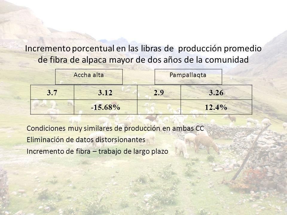 Incremento porcentual en las libras de producción promedio de fibra de alpaca mayor de dos años de la comunidad Condiciones muy similares de producció