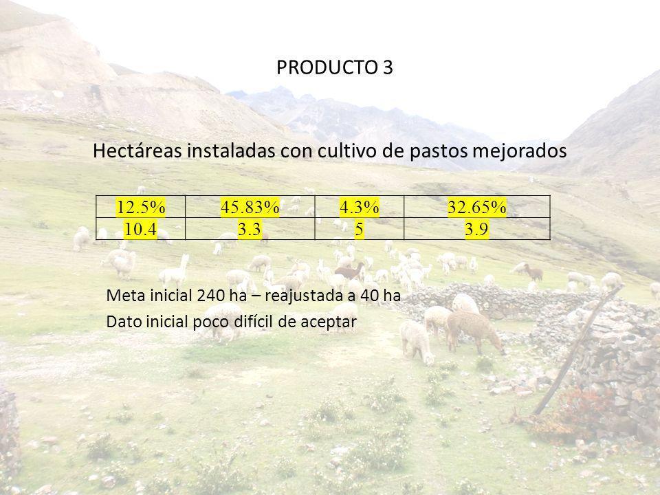 Hectáreas instaladas con cultivo de pastos mejorados Meta inicial 240 ha – reajustada a 40 ha Dato inicial poco difícil de aceptar 12.5%45.83%4.3%32.6