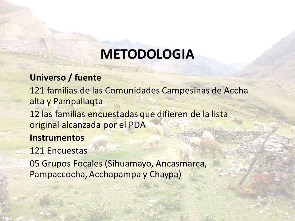 METODOLOGIA Universo / fuente 121 familias de las Comunidades Campesinas de Accha alta y Pampallaqta 12 las familias encuestadas que difieren de la li