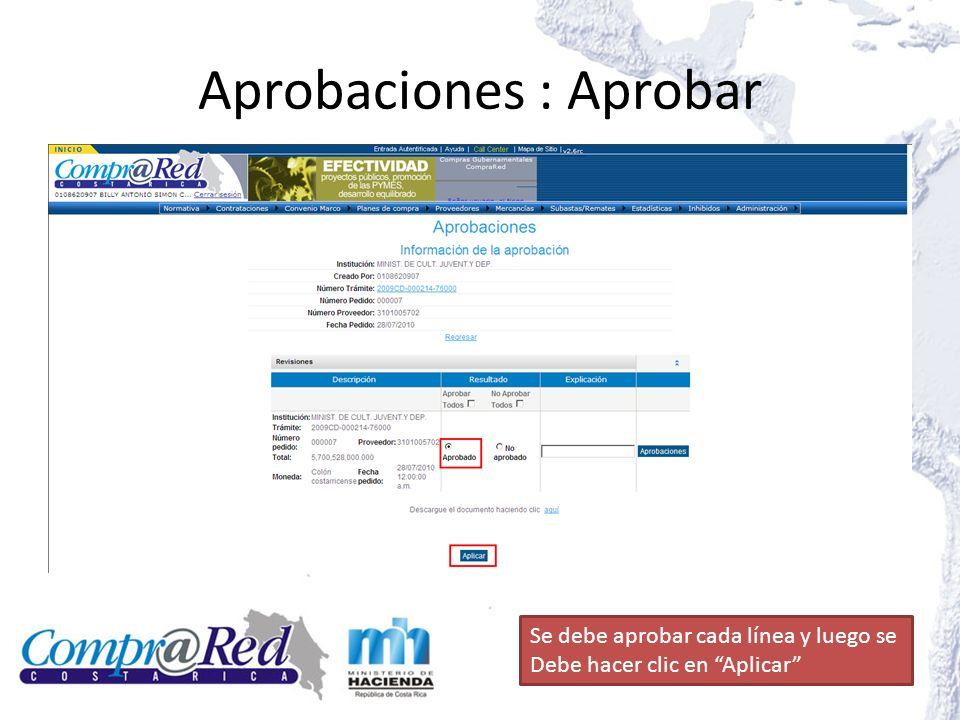 Aprobaciones : Aprobar Se debe aprobar cada línea y luego se Debe hacer clic en Aplicar