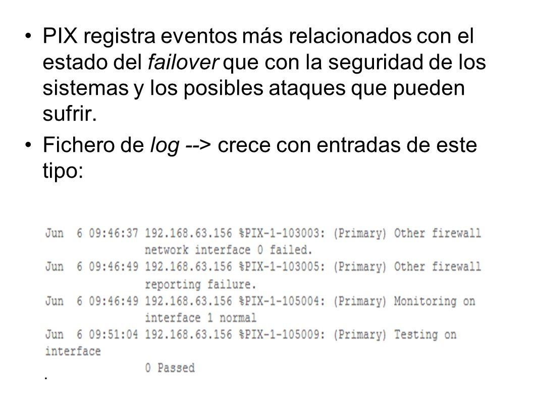 PIX registra eventos más relacionados con el estado del failover que con la seguridad de los sistemas y los posibles ataques que pueden sufrir. Ficher