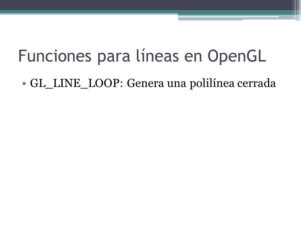 Funciones para líneas en OpenGL GL_LINE_LOOP: Genera una polilínea cerrada