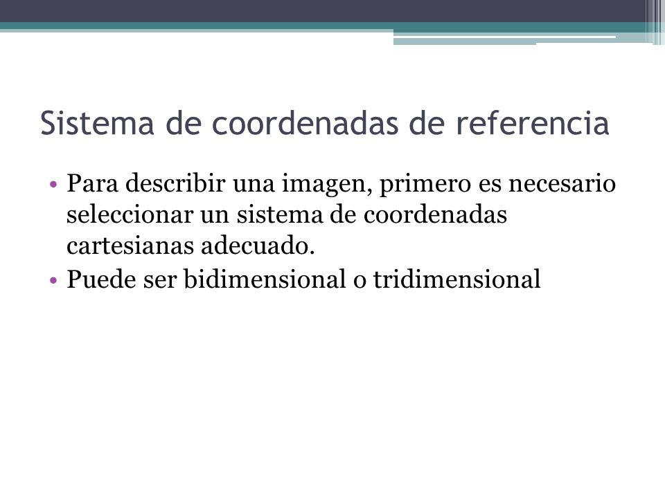 Sistema de coordenadas de referencia Para describir una imagen, primero es necesario seleccionar un sistema de coordenadas cartesianas adecuado. Puede