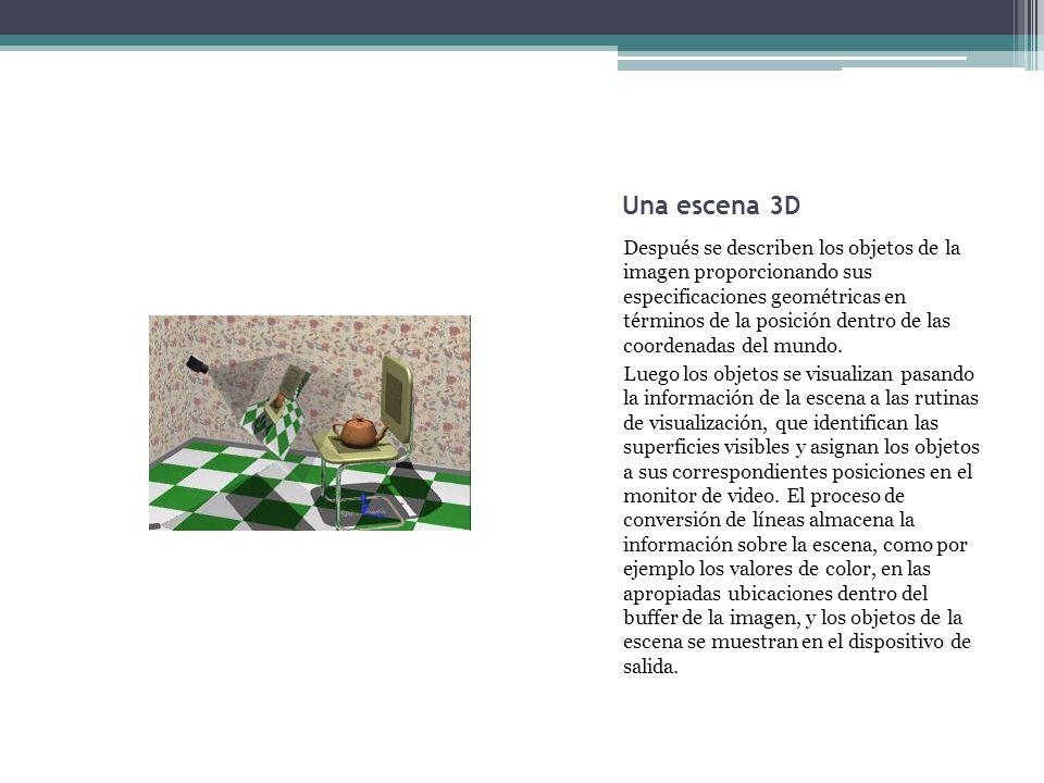 Una escena 3D Después se describen los objetos de la imagen proporcionando sus especificaciones geométricas en términos de la posición dentro de las c