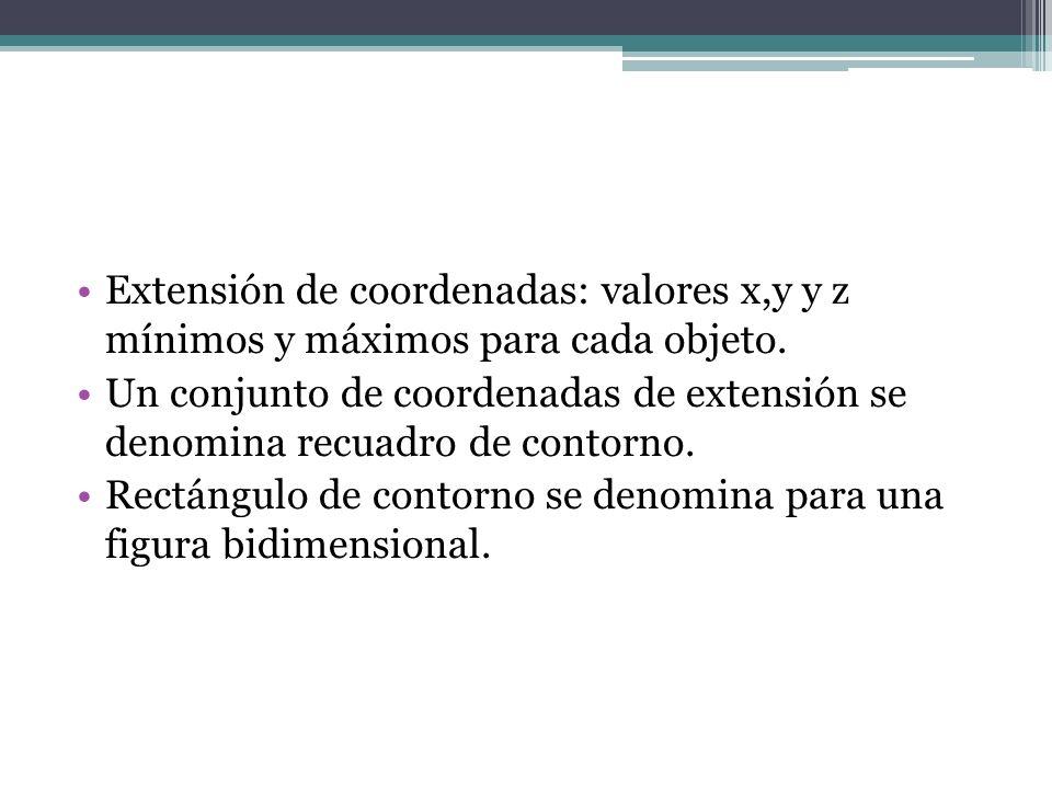 Extensión de coordenadas: valores x,y y z mínimos y máximos para cada objeto. Un conjunto de coordenadas de extensión se denomina recuadro de contorno