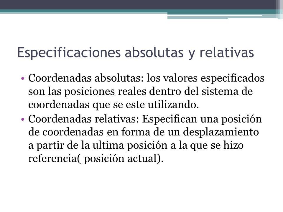 Especificaciones absolutas y relativas Coordenadas absolutas: los valores especificados son las posiciones reales dentro del sistema de coordenadas qu